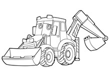 Cartoon Funny Vector Excavator - Isolated Coloring Page - Illustration For Children