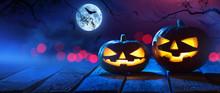 Halloween Pumpkins On Wood In ...