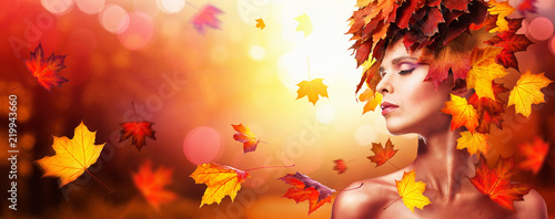 Fototapety, obrazy: Autumn Beautiful Woman With Falling Leaves Over Nature Background