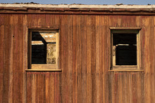 Abandoned Red Painted Wood Caboose Railroad Train Car Ghost Town Nevada