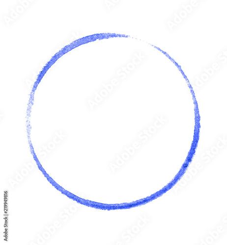 Fotografía  Blau gemalter Kreis auf weißem Hintergrund