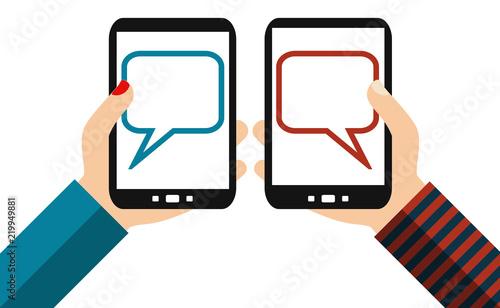 Fotografía Kommunikation zwischen Mann und Frau mit dem Smartphone