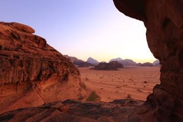 View of the mountains in Wadi Rum at sunrise, Jordan