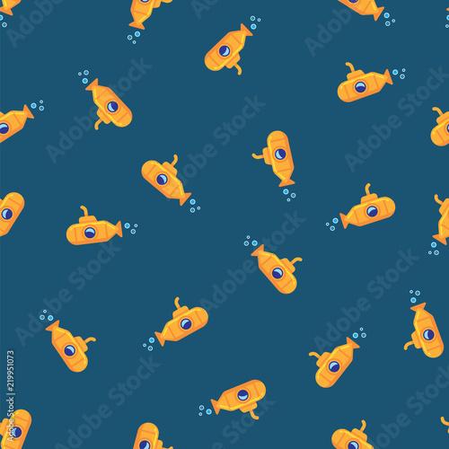 Photo  Yellow submarine underwater in sea water pattern background