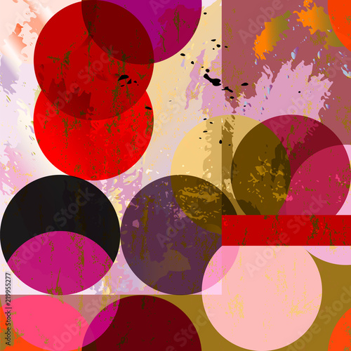 seamless geometric background pattern, with circles, squares, paint strokes and splashes