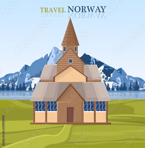 Photo  Travel to Norway postcard with architecture and mountain landscape Vector