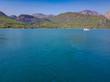 Turquoise lake and mountains. Turkish Green Canyon