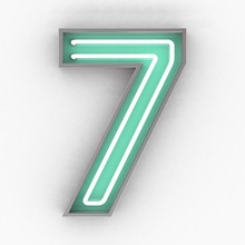 Neon Sign Number 7 3d Render