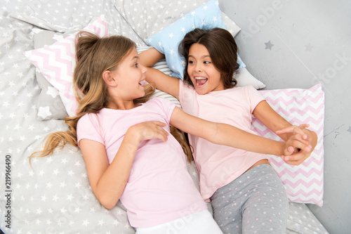 good morning and healthy sleep little girls say good morning to each other little