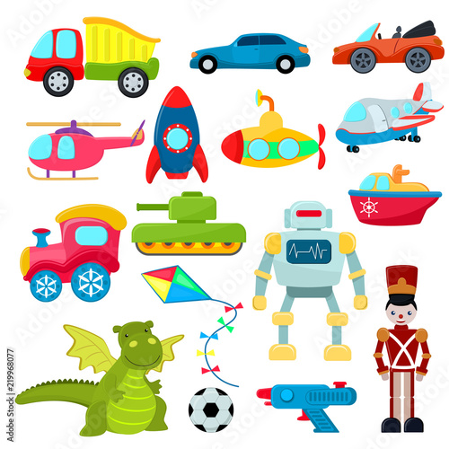 Foto op Aluminium Cartoon cars Kids toys vector cartoon games helicopter or ship submarine for children and playing with boys car or train illustration boyish set of robot and dinosaur in playroom isolated on white background