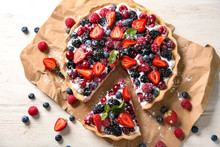 Delicious Pie With Ripe Berries On Table, Top View