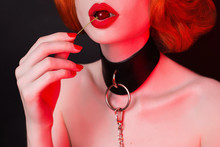 Female Seduction. Attire For Bdsm Games. Redhead Fetish Girl On Black. Kinky Model With Cherry On Mouth. Lady With Bondage On Neck. Sexual Bdsm Toy For Fetish. Kinky Girl. Cunning Woman Seduction