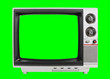 canvas print picture - Old Television Isolated with Chroma Green Screen and Background