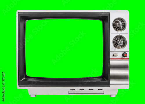 Old Television Isolated with Chroma Green Screen and Background