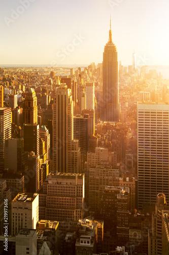 Manhattan skyline bei Sonnenuntergang, New York City, USA