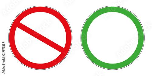 Obraz na plátně forbidden and allowed sign template