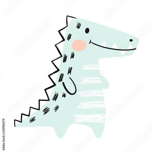 Crocodile baby cute print set. Dinosaur. Cool african animal Canvas Print