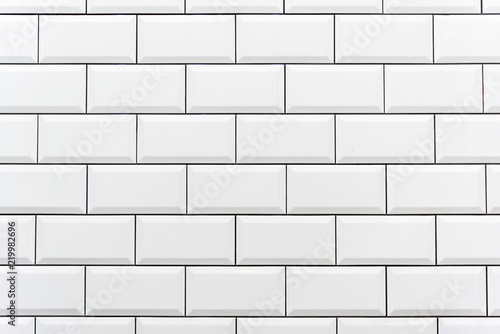 Fotografie, Obraz  Background from a white tiled wall