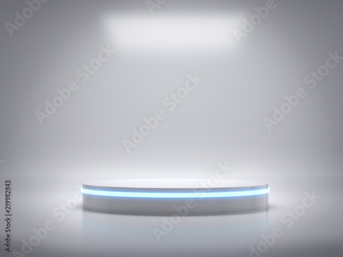 Photo  Pedestal for display,Platform for design,Blank product stand with light glow,Future background