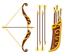 Bow Weapon With Arrows And Qui...