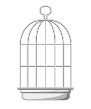 Silver Bird Cage Icon. Flat Ve...