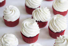 Red Velvet Cupcakes. Cupcakes Topped With Swirl Of Sweet Vanilla Frosting