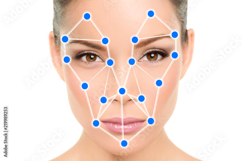Photo  Biometric facial recognition software app technology for face identity verification identification concept