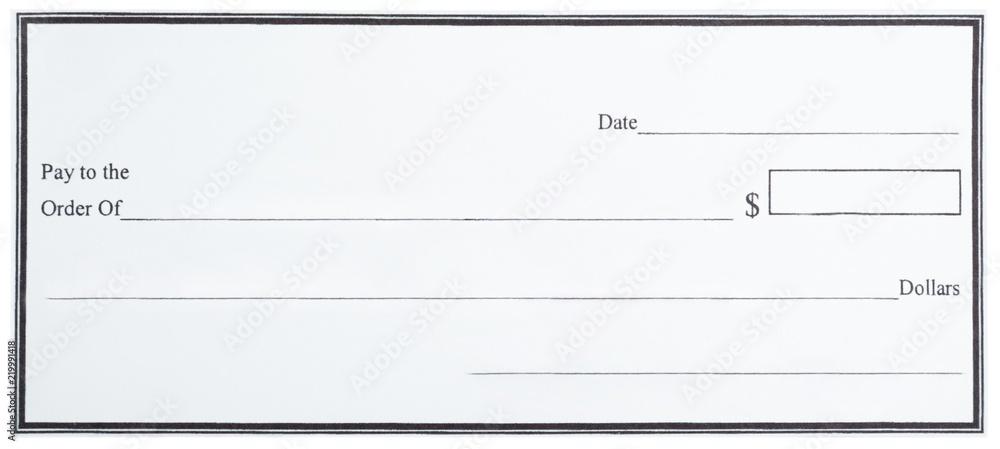 Fototapety, obrazy: Blank White Cheque