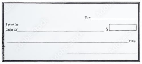 Fotografia  Blank White Cheque