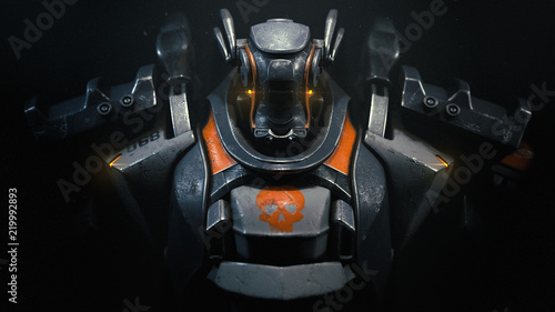 Fototapeta Sci-fi mech soldier on a black background. Military futuristic robot warrior with white and gray color metal. Scratched metal armor robot. Big robot mech with orange paint. Front view. 3D rendering. obraz