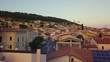 Stunning flyby 4k aerial footage of an Italian village by the hills in Abruzzo