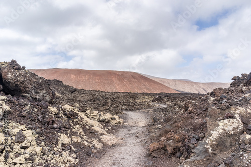 Foto op Aluminium Zalm Landscape of volcanic desert of Lanzarote, Spain