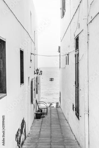 Black and white thin street, Arrieta, Lanzarote,Spain