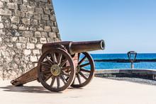 Cannon Seeing The Sea Of Arrecife, Lanzarote, Spain