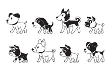 Different Type Of Cute Dogs Walking Vector Cartoon Illustration For Design.