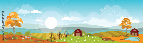 Panoramic of Countryside landscape in autumn