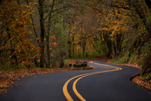 Autumn Winding Road Along The Columbia River Gorge Historic Highway
