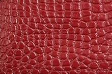 Texture Of Red Maroon Genuine Leather, Like Crocodile Skin