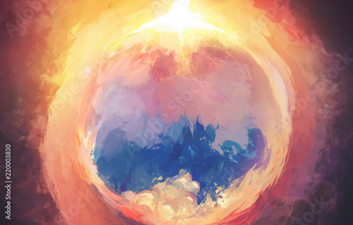 Valokuva  Fantasy Digital Art Painting Artwork with Beautiful Landscape demonstrating confrontation of Dark and Light Sides in Light colors of Fire