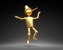 Pinocchio In Gold Vor Schwarz