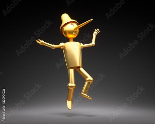 Photo Pinocchio in Gold vor Schwarz