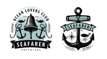 Seafarer, Shipping, Cruise Logo Or Label. Nautical Theme. Vector