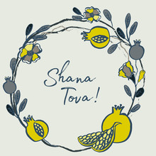 Rosh Hashanah Card - Jewish New Year. Greeting Text Shana Tova