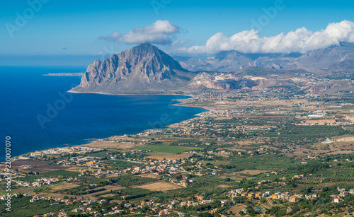 Fotografie, Obraz  Panoramic view of Mount Cofano and coastline from Erice, province of Trapani, Sicily