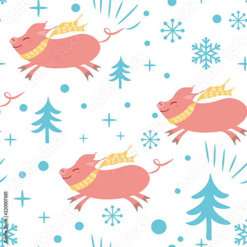 Seamless Christmas pattern with cute cartoon pig snowflakes blue pink colors 32d56d41775af