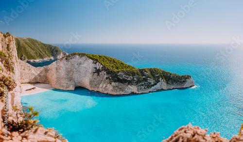 Платно Panoramic view of Navagio beach, Zakynthos island, Greece