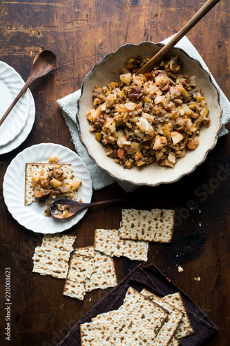 Deurstickers Eten Passover Ferrara Haroset with Chestnuts, Pine Nuts, Pears and Dried Fruits.