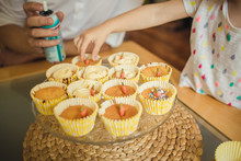 Cooking Cupcakes With Kids, Fancy Decoration Of Muffin, Kids Diy