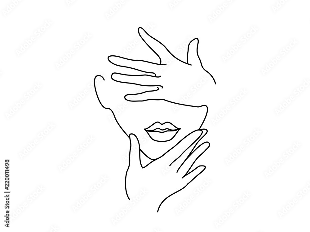 Fototapeta Line Drawing Art. Woman face with hands. Vector illustration. Concept for logo, card, banner, poster flyer