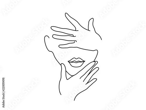 Fototapeta Line Drawing Art. Woman face with hands. Vector illustration. Concept for logo, card, banner, poster flyer obraz